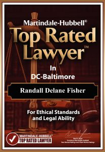 Award plaque stating that Randall Fisher is top-rated for ethical standards and legal ability in the DC-Baltimore area